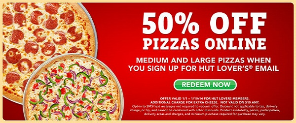 Pizza Hut deals 50 off